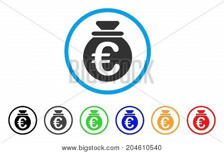 Euro Fund rounded icon. Style is a flat Euro fund gray symbol inside light blue circle with black, gray, green, blue, red, orange variants. Vector designed for web and software interfaces.
