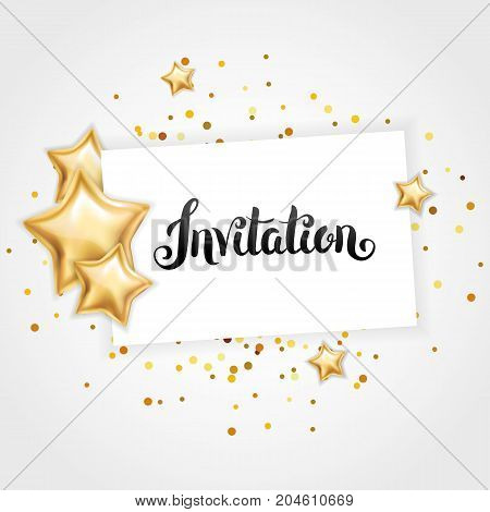 Gold shine star invitation, background, banners. You are invited. Gold banner with text. Party invitation, birthday, wedding, celebration. Web mailing, greeting card vip exclusive certificate
