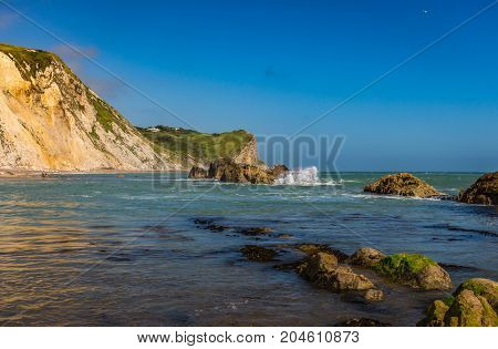 Man O'War Beach, seascape with rocks and reefs, Lulworth, Durdle Door, Dorset