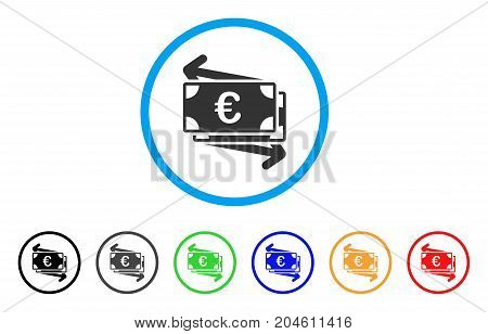 Euro Money Transfer rounded icon. Style is a flat Euro money transfer gray symbol inside light blue circle with black, gray, green, blue, red, orange versions.