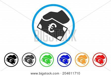 Euro Payment rounded icon. Style is a flat Euro payment gray symbol inside light blue circle with black, gray, green, blue, red, orange variants. Vector designed for web and software interfaces.