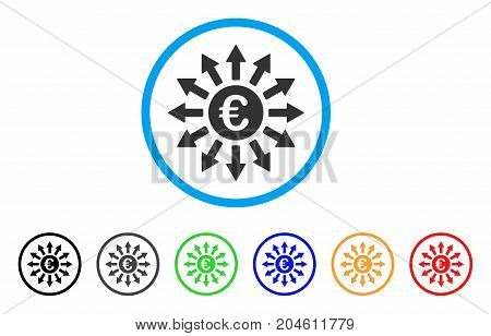 Euro Payments rounded icon. Style is a flat Euro payments gray symbol inside light blue circle with black, gray, green, blue, red, orange color versions.