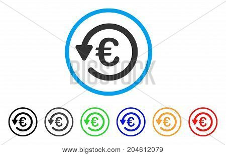 Euro Rebate rounded icon. Style is a flat Euro rebate gray symbol inside light blue circle with black, gray, green, blue, red, orange variants. Vector designed for web and software interfaces.