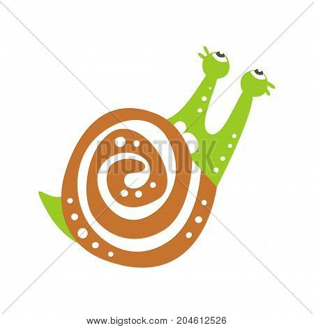 Cute snail character looking up, funny mollusk colorful hand drawn vector Illustration on a white background
