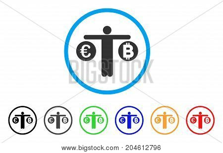 Person Compare Bitcoin And Euro rounded icon. Style is a flat person compare bitcoin and euro gray symbol inside light blue circle with black, gray, green, blue, red, orange variants.