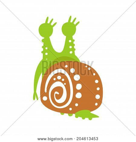Cute snail character back view, funny mollusk colorful hand drawn vector Illustration on a white background