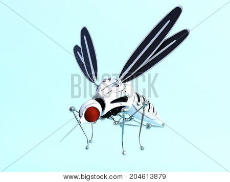 3D rendering of a robotic mosquito. Light blue background.