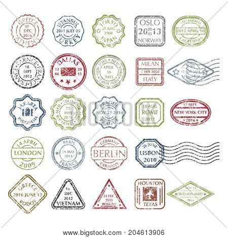 Colored grungy Postal Stamps set in different shapes from 24 city in the world. Collection of Colored Postal Stamps. Isolated vector illustration.