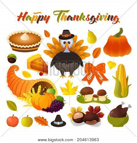 Thanksgiving Day set of colorful cartoon elements. Traditional turkey pie cornucopia horn with pumpkin wheat corn and other traditional symbols of Thanksgiving dinner.