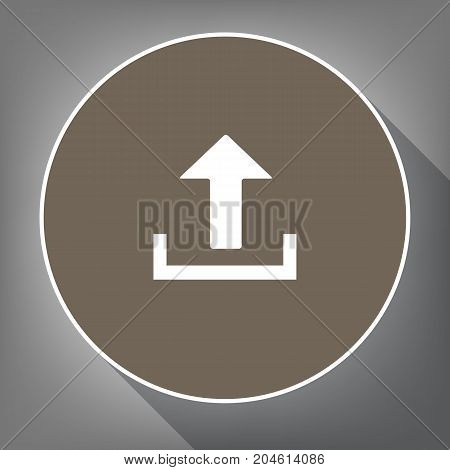 Upload sign illustration. Vector. White icon on brown circle with white contour and long shadow at gray background. Like top view on postament.