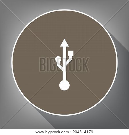 USB sign illustration. Vector. White icon on brown circle with white contour and long shadow at gray background. Like top view on postament.