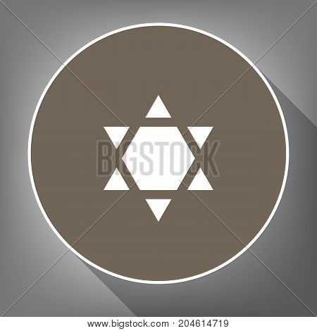 Shield Magen David Star Inverse. Symbol of Israel inverted. Vector. White icon on brown circle with white contour and long shadow at gray background. Like top view on postament.