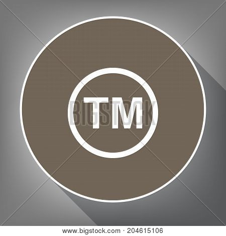 Trade mark sign. Vector. White icon on brown circle with white contour and long shadow at gray background. Like top view on postament.