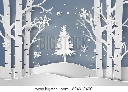 snowflakes and christmas tree.paper art and craft  style.
