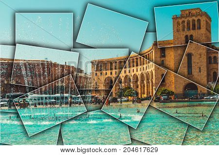 Collage Dancing Fountains, architectural complex on Republic Square. Touristic architecture landmark. Sightseeing in Yerevan. City tour. Government House. Travel and tourism concept. Sunny autumn day.