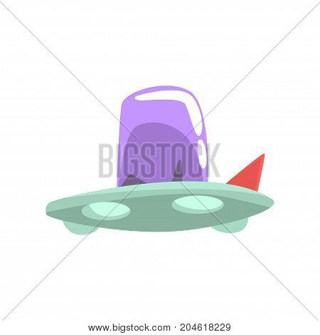 Ufo spaceship cartoon vector Illustration on a white background