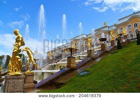 Peterhof, Russia - June 03. 2017. Gold sculptures of the Great Cascade Fountain