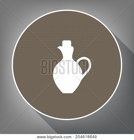 Amphora sign illustration. Vector. White icon on brown circle with white contour and long shadow at gray background. Like top view on postament.