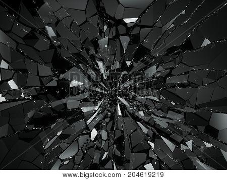 Damaged Or Broken Glass On Black