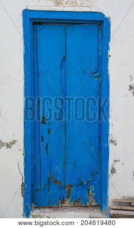 Blue Aged Door From Sidi Bou Said In Tunisia