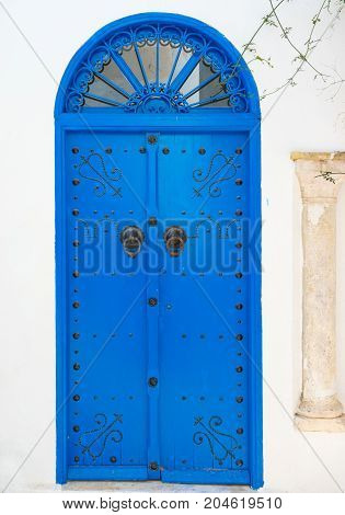 Blue Traditional Door With Arch From Tunisia