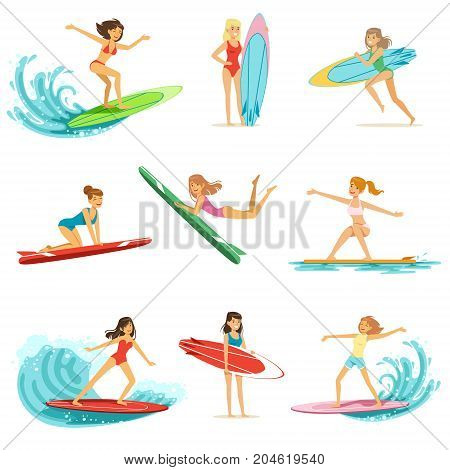 Surfer girls riding on waves set, surfboarders in different poses vector Illustrations on a white background