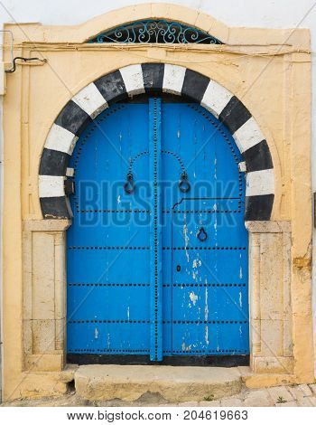 Traditional Blue Arched Door From Sidi Bou Said