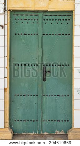 Aged Green Traditional Door From Tunisia