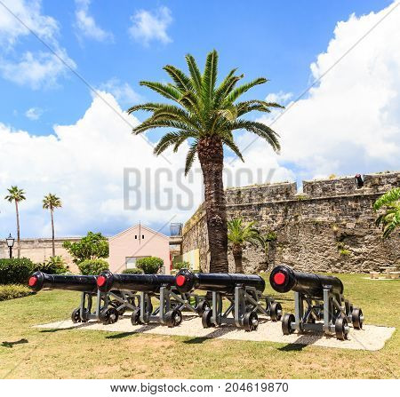 Old Iron cannons at the Naval Dockyward in Bermuda poster