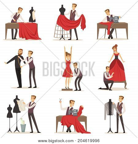 Dressmaker set, male designer tailoring measuring and sewing for his customers vector Illustrations on a white background