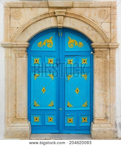 Blue Door With Ornament As Symbol Of Sidi Bou Said