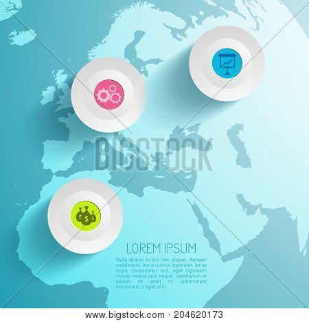 Business infographic light background with circles flipchart gears money icons and world map vector illustration
