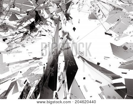 Pieces Of Broken Or Shattered Glass On White