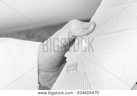 Compression Bandage To Inflammation, Application Of Figure Of Eight Bandage In Silhouette