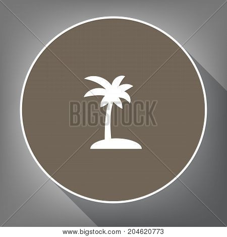 Coconut palm tree sign. Vector. White icon on brown circle with white contour and long shadow at gray background. Like top view on postament.
