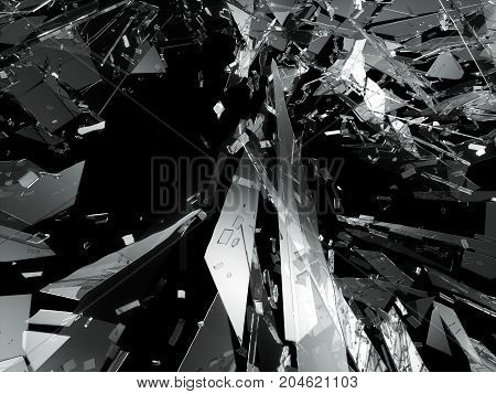 Pieces Of Broken Or Shattered Glass On Black