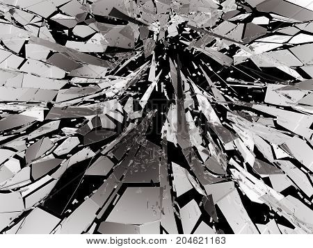 Shattered Glass Over Black Background