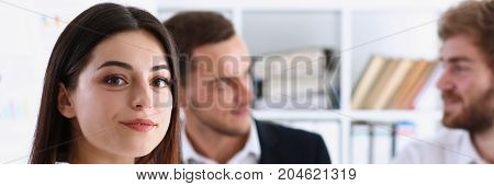 Beautiful Smiling Cheerful Girl At Workplace
