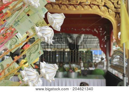 ChonburiThailand - June 25 2017 : Thailand banknotes for make merits at Wat Loung Por eei temple