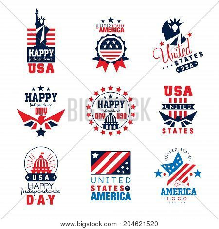 United states of America logo templates set, Happy Independence Day badges vector Illustrations on a white background