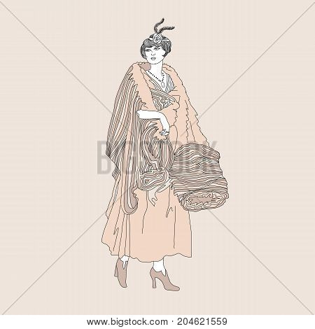 Beautiful retro style woman. Vector nude illustration. Vintage girl in winter clothes with fur clutch.
