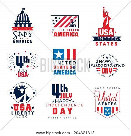 United states of America logo templates set, 4th of July Independence Day badges vector Illustrations on a white background