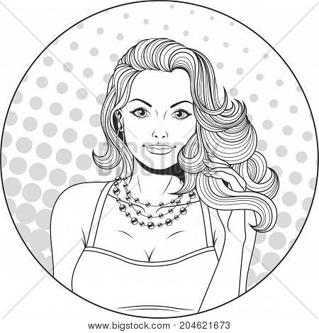 Vector illustration, pop art beautiful girl, on a retro background
