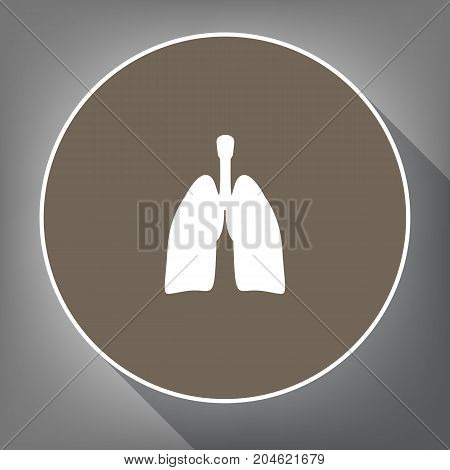Human anatomy. Lungs sign. Vector. White icon on brown circle with white contour and long shadow at gray background. Like top view on postament.
