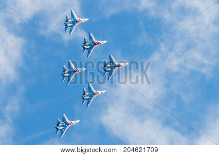 Russian Knights Demonstration Flights. Russia, Moscow, Airport Zhukovsky. August 29, 2015
