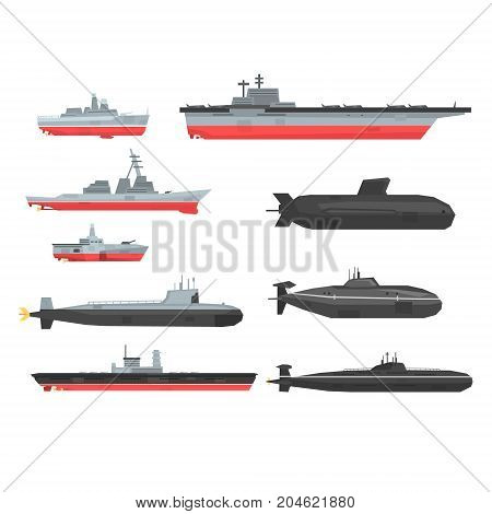 Naval combat ships set, military boats, ships, submarine vector Illustrations on a white background
