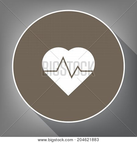 Heartbeat sign illustration. Vector. White icon on brown circle with white contour and long shadow at gray background. Like top view on postament.
