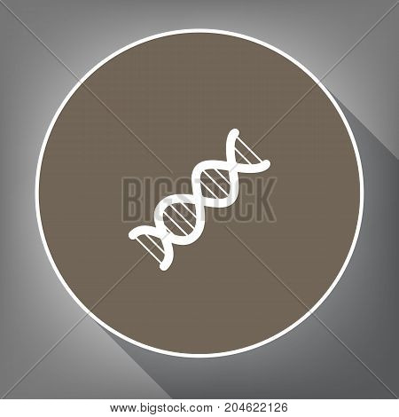 The DNA sign. Vector. White icon on brown circle with white contour and long shadow at gray background. Like top view on postament.