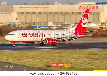 Boeing 737 Airberlin, Airport Pulkovo, Russia Saint-petersburg October 30, 2014