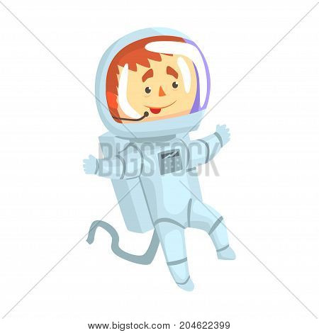 Male cosmonaut or astronaut in a white space suit cartoon vector Illustration on a white background